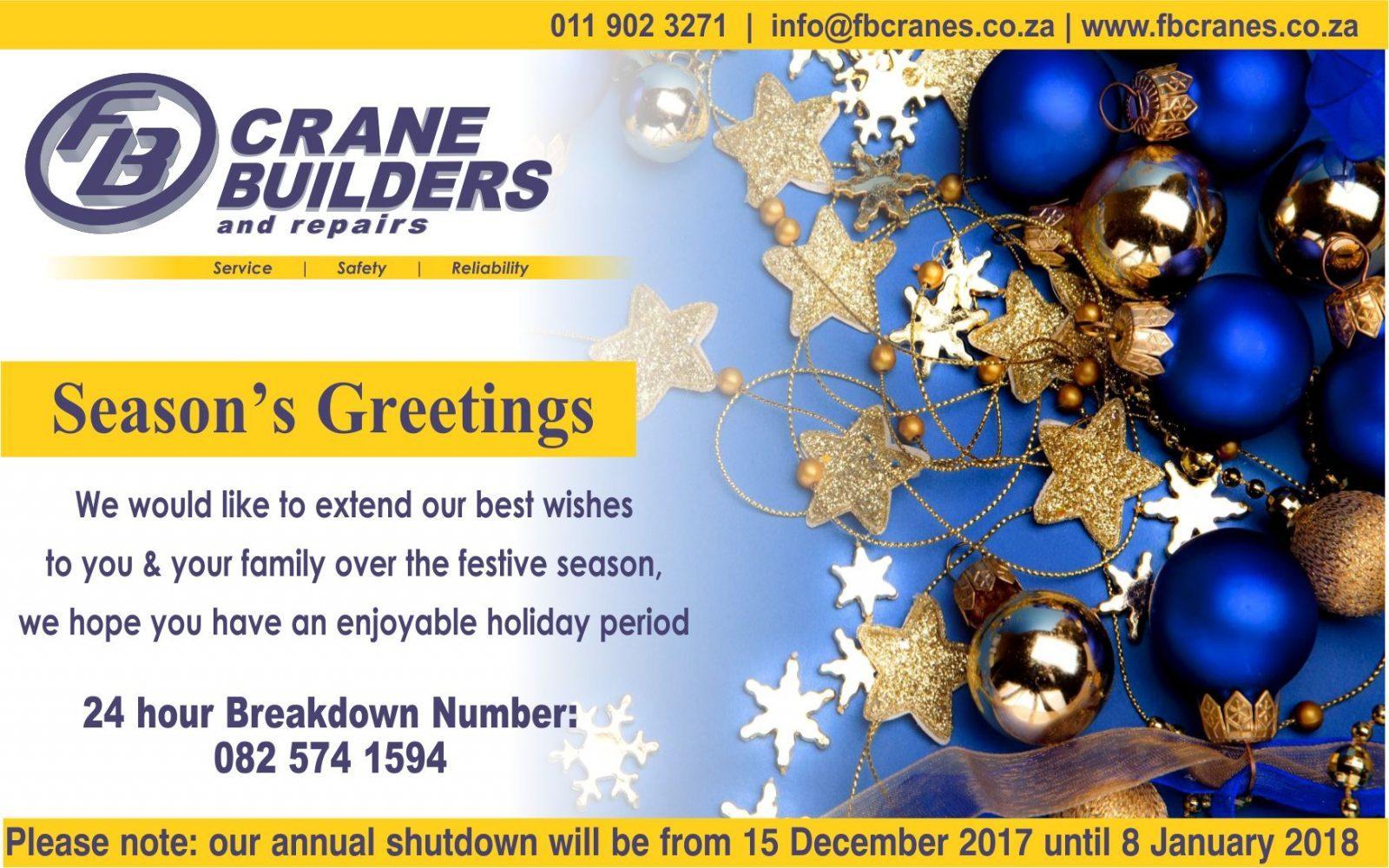 FB Crane Builders and Repairs - Season's Greetings